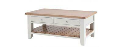 Chalked Oak & Light Grey Double Drawer Rectangular Coffee Table