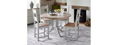 Oak & Grey Round Dining Table with 4 Slatted Chairs