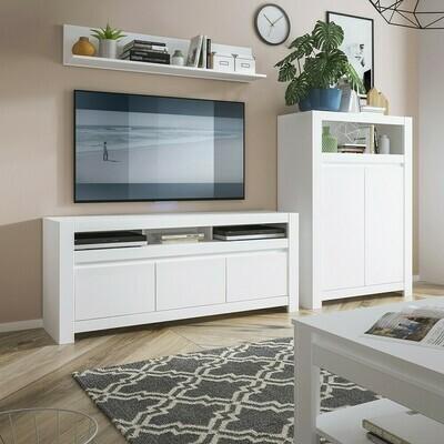 3 Door TV Unit in White