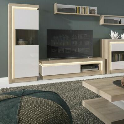 2 Drawer TV Cabinet with Open Shelf in Oak & White
