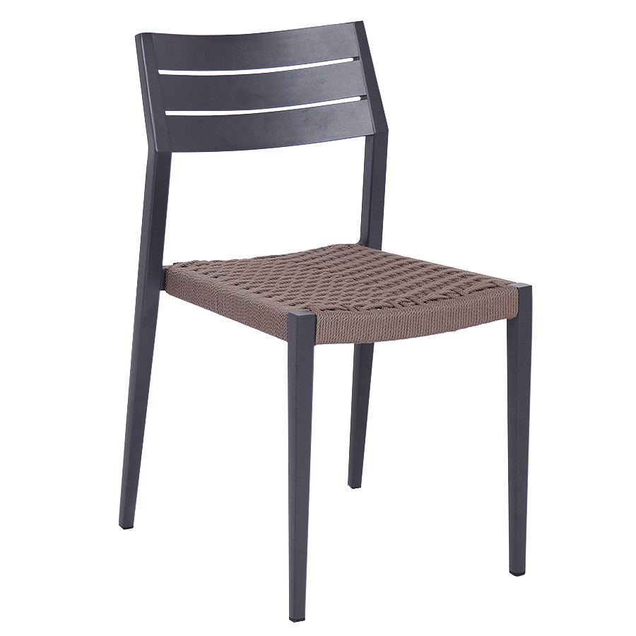 Aluminum with Olifen Woven Fabric Classic Dining Chair