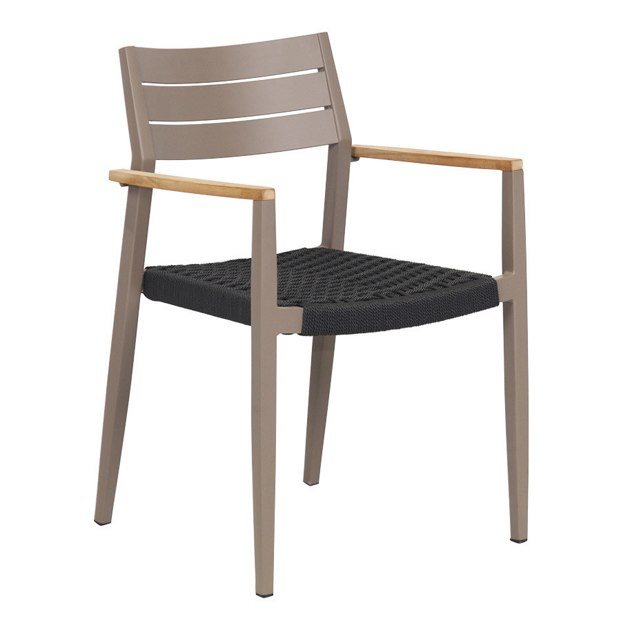 Aluminum Teak Wood Arm Rope Seat With Alum Slat Back Patio Dining Chair