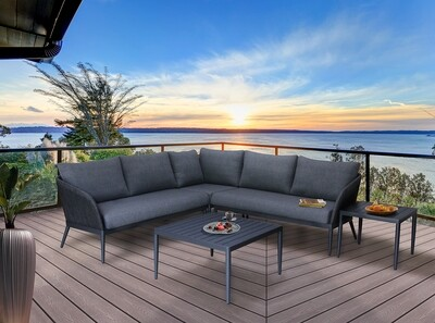 Outdoor 5-Seater V-Shaped Upholstery Sectional Sofa Set