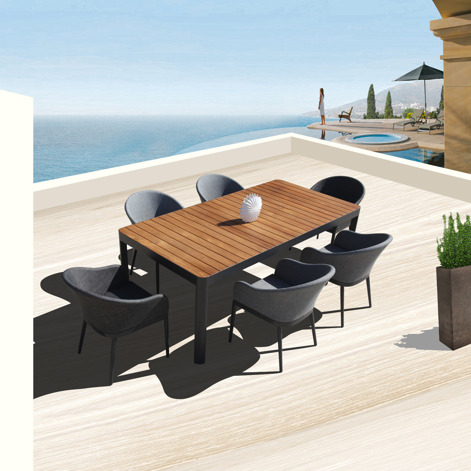 7 Piece Alminuim Table Chairs Dining Set Outdoor Patio Furniture