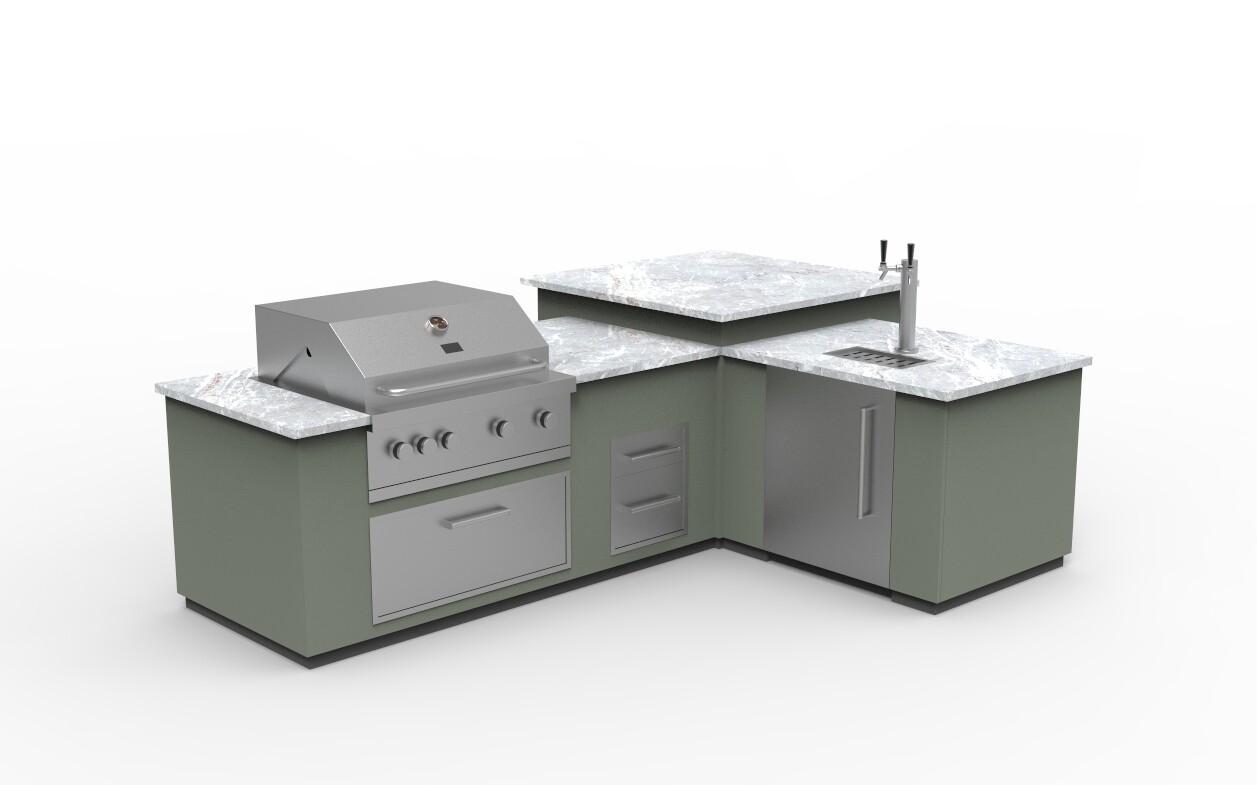 Vanrios Modern Outdoor Kitchen Island KI07