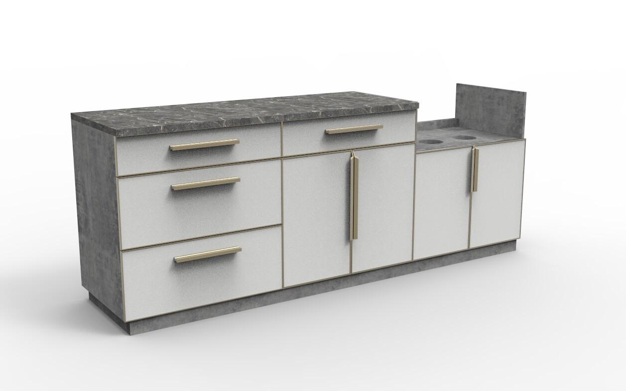 Modern Aluminum PVC-board Outdoor Kitchen Cabinet Set