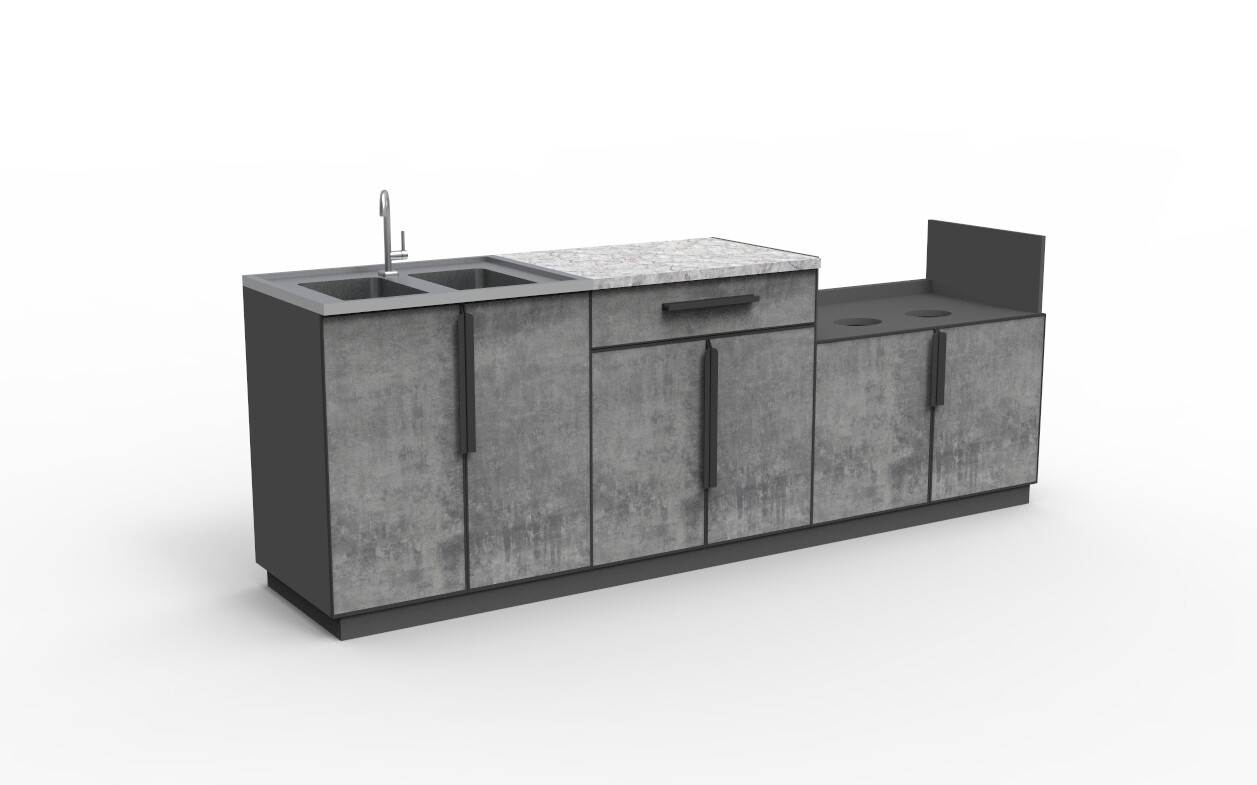 Modern Aluminum PVC-board Outdoor Kitchen Cabinet