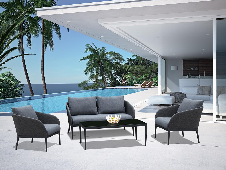 Extruded Aluminum 4 Pieces Patio Outdoor Lounge Set