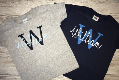 Initial & Script Font Signature Name T-shirt