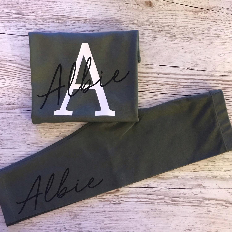 Initial & Signature Name (thinner Font) T-shirt & Leggings Set