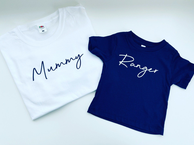 Thinner font Name T-shirt matching set