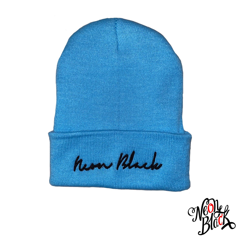 Neon Black Script Carolina Blue Beanie