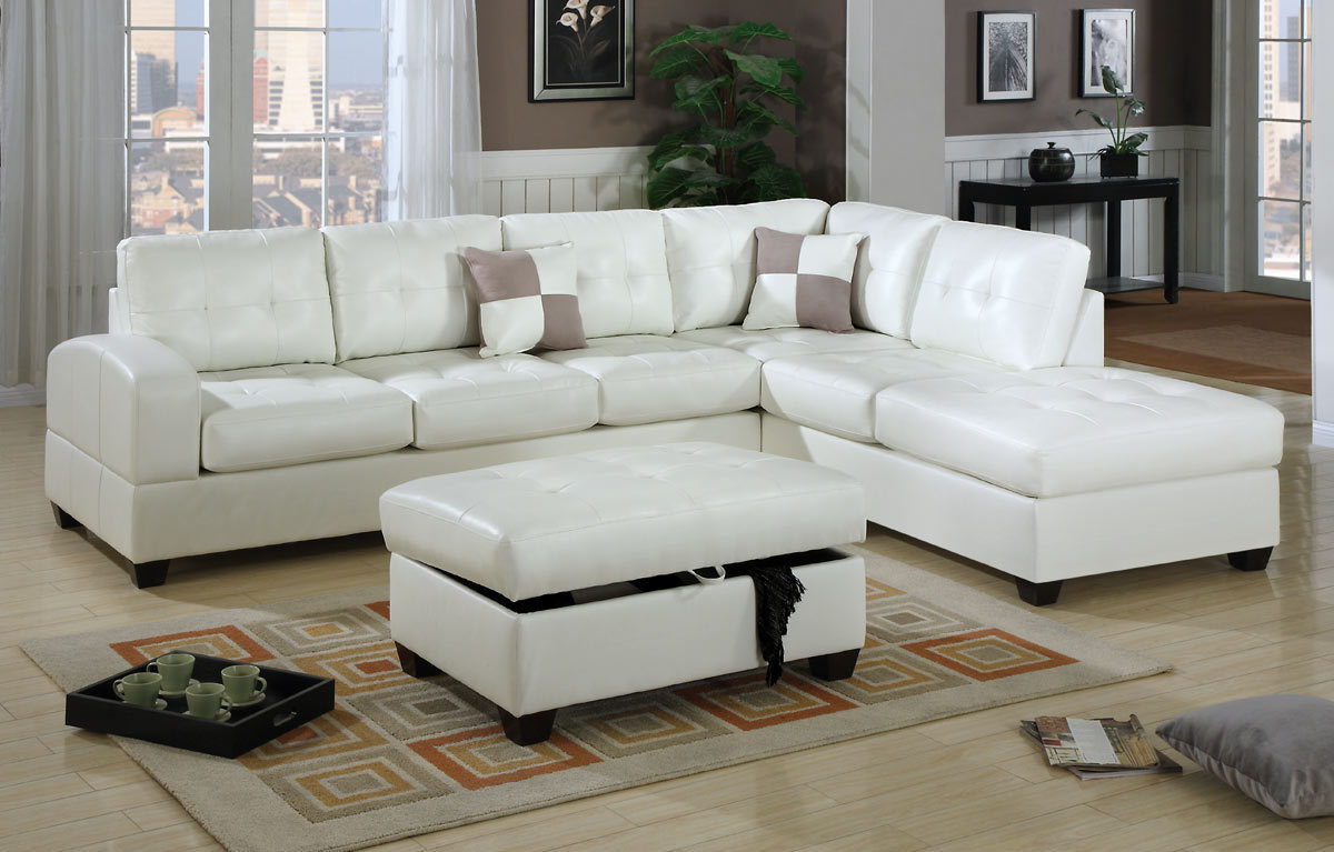 2 pc bonded leather cream sectional for Bonded leather sectional sofa with chaise