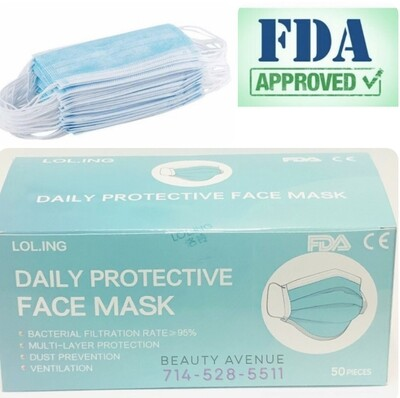 50pc Surgical Masks FDA Approved