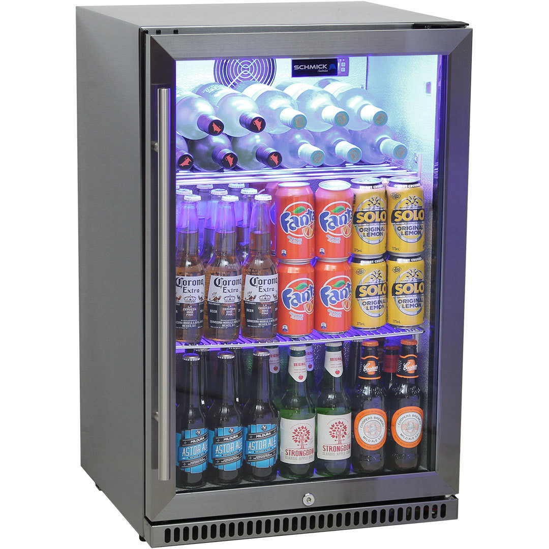 Schmick Black Stainless Steel Bar Fridge Tropical Rated With Heated Glass and Triple Glazing 1 Door Model SK118R-BS