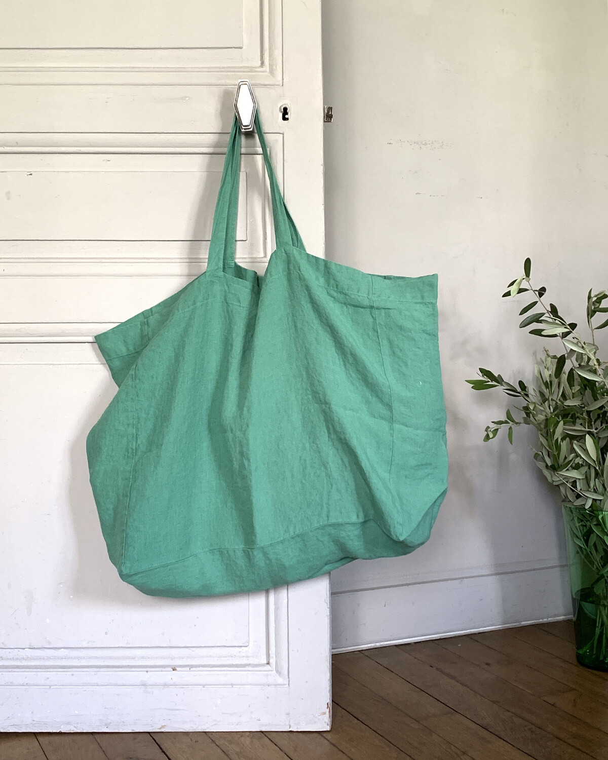 Sac Grand Lin Lavé / Emerald Green