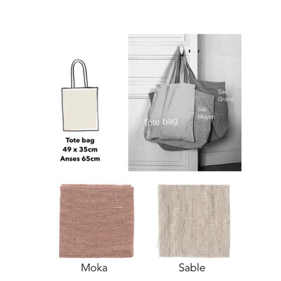 Washed Linen Tote Bag / Moka, Sable (Delivery only in Japan)