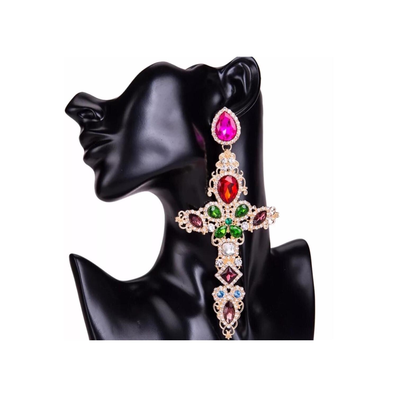 Colorful Stone Cross Earrings