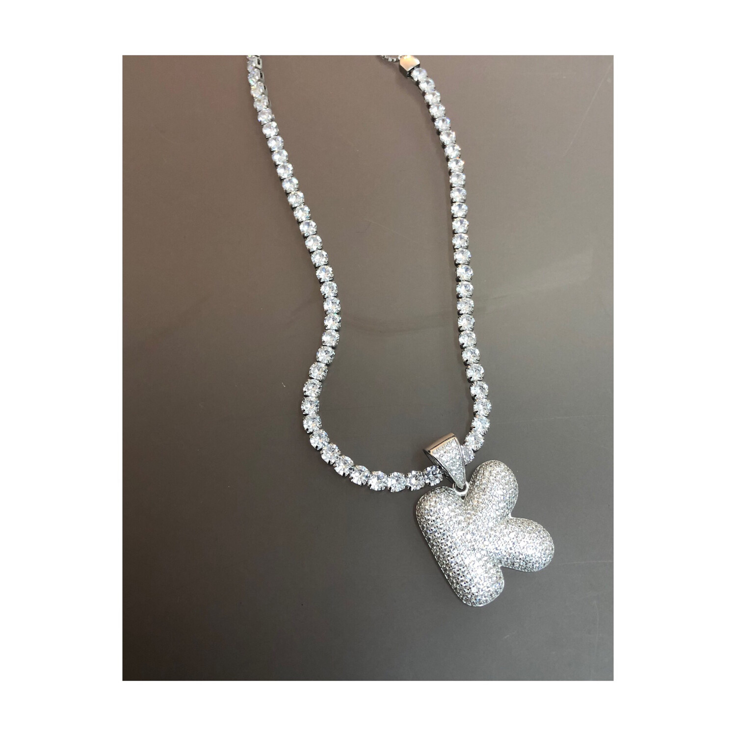 Initial Bubble Letter With Tennis Necklace