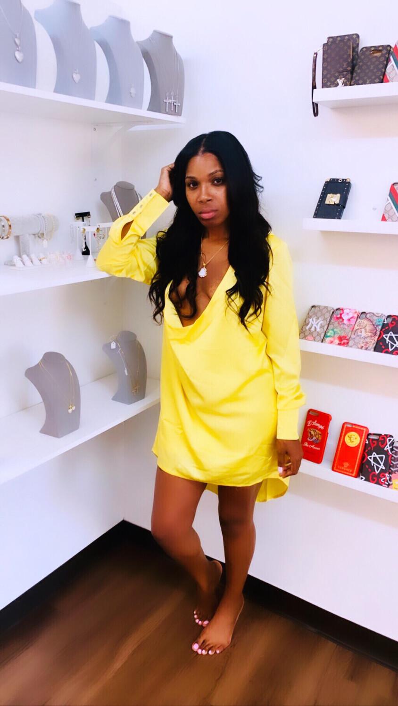 Sexy Satin Yellow Dress