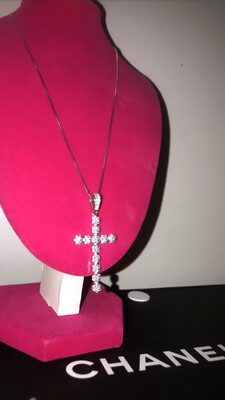 Floral Print Cross Necklace