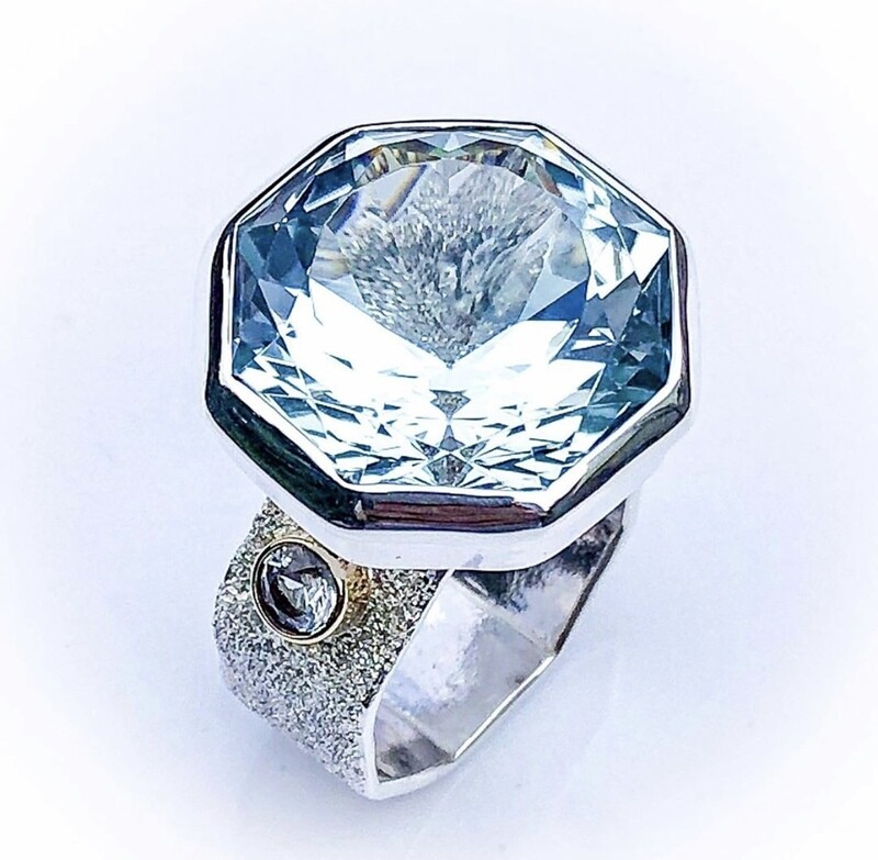 Topaz and sapphire ring