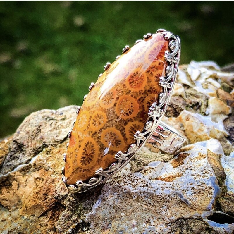 Fossil Sponge Coral Ring