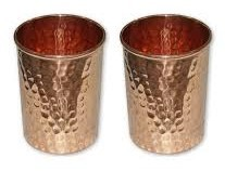 CopperKing Hammered Pure Copper Glasses Set Of 2