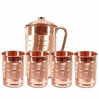 CopperKing Classic Touch Copper Jug 1250ml With 4 Glasses Water