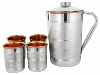 CopperKing Steel Copper Jug 1250ml With 4 Glasses Water Drinking