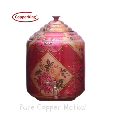 Copperking Pure Copper Printed Matka / Pot 10Ltr, Water Drinking in Copper Vessel