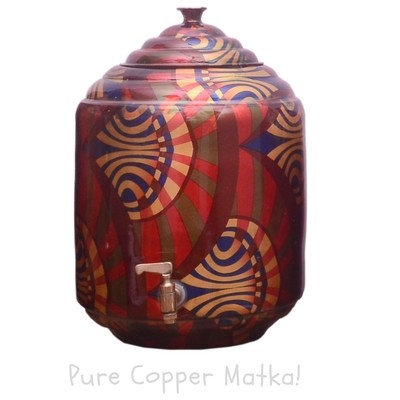 Copperking Pure Copper Printed Matka / Pot 12Ltr, Water Drinking in Copper Vessel