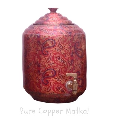 Copperking Pure Copper Printed Matka / Pot 6Ltr, Water Drinking in Copper Vessel
