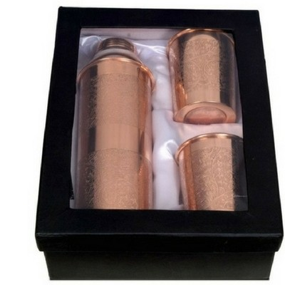 (Gift Set) Embossed Copper Bottle 800ml With Two Glasses
