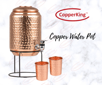 CopperKing Pure Copper Hammer Matka / Pot 5Ltr With Stand & Two Glasses Water Drinking in Copper Vessel