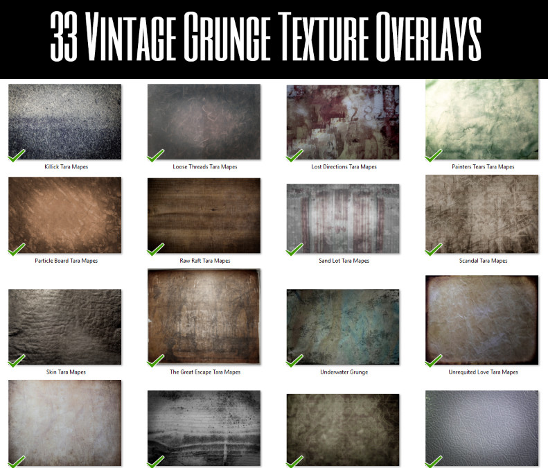 Fine Art Vintage Grunge Texture Photoshop Overlays by Tara Mapes