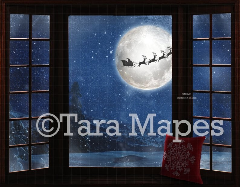 Christmas Window Santa in Moon Digital Background