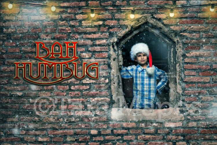 Christmas Bah Humbug - Brick Window Layered PSD File Digital Background Backdrop