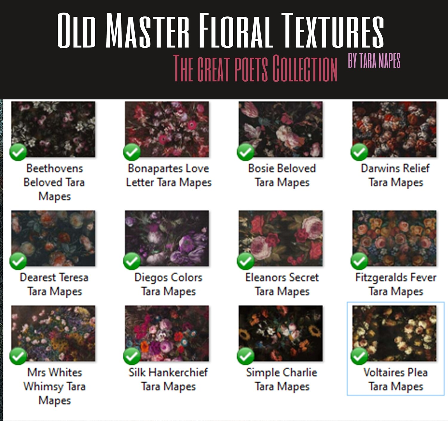12 Old Masters Floral Textures -Floral Backdrops - Digital Backgrounds - THE GREAT POETS COLLECTION Photoshop Overlays by Tara Mapes