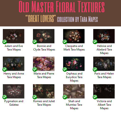 12 Old Masters Floral Textures -Floral Backdrops - Digital Backgrounds - THE GREAT LOVERS COLLECTION Photoshop Overlays by Tara Mapes