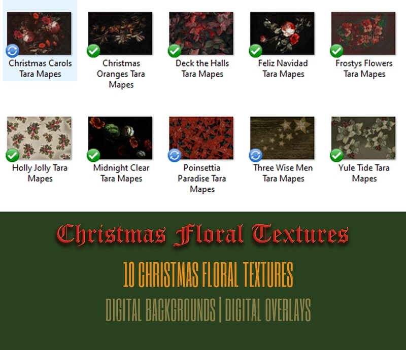 10 Old Masters Christmas Floral Textures -Floral Backdrops - Digital Backgrounds - CHRISTMAS COLLECTION Photoshop Overlays by Tara Mapes