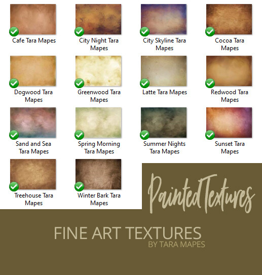 14 Painted Fine Art Textures - Digital Backgrounds - PAINTED Photoshop Overlays by Tara Mapes