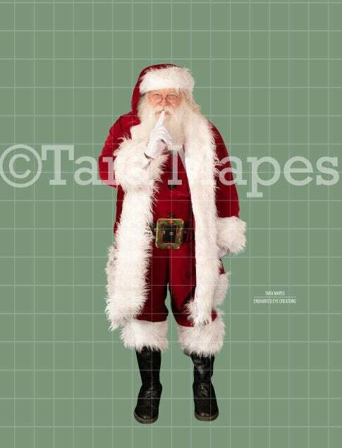 Santa Overlay PNG - Santa Saying Shhh - Santa Walking Cut Out  - Christmas Overlay - Santa PNG - Christmas Overlay