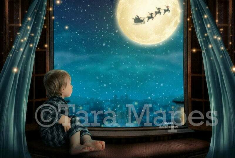 Christmas Window Overlooking City - Christmas Village - Magic Window with Santa in Moon Digital Background Backdrop
