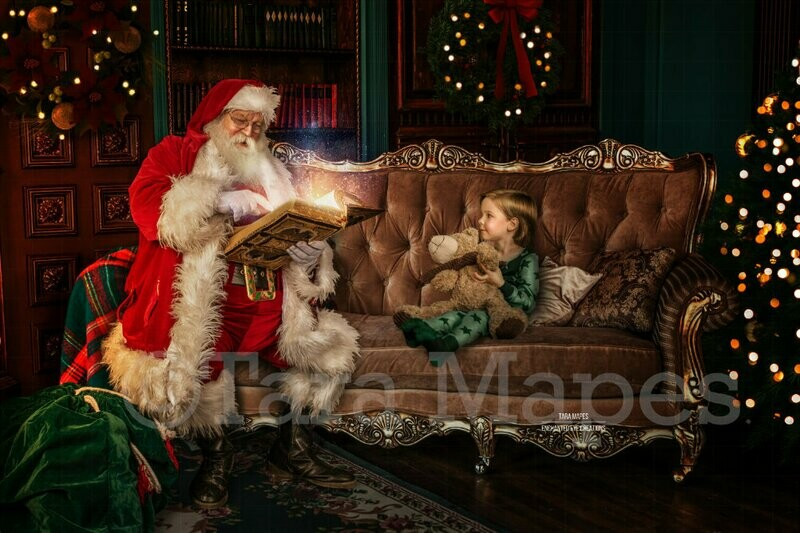 Santa Reading Book on Couch by Fireplace - Santa with Magic Book - Cozy Christmas Holiday Digital Background Backdrop