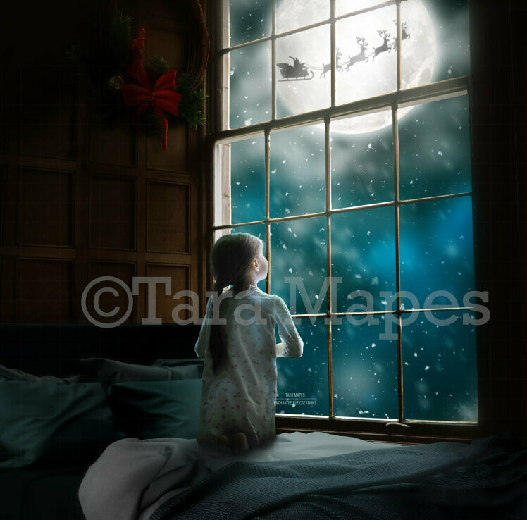 Big Christmas Window by Bed with  Santa in Moon at Night Digital Background Backdrop