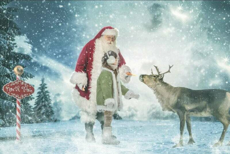 Santa Feeding Reindeer in North Pole - Rudolph - Christmas Holiday Digital Background Backdrop