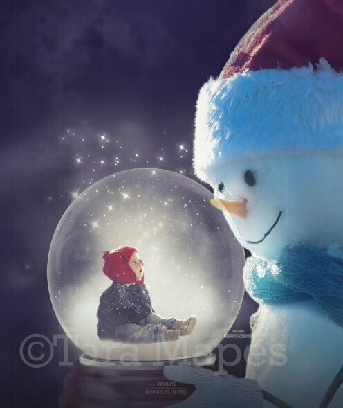Snowman Holding Snow Globe LAYERED PSD and JPG - Snowman and Snowglobe - Christmas Digital Background / Backdrop