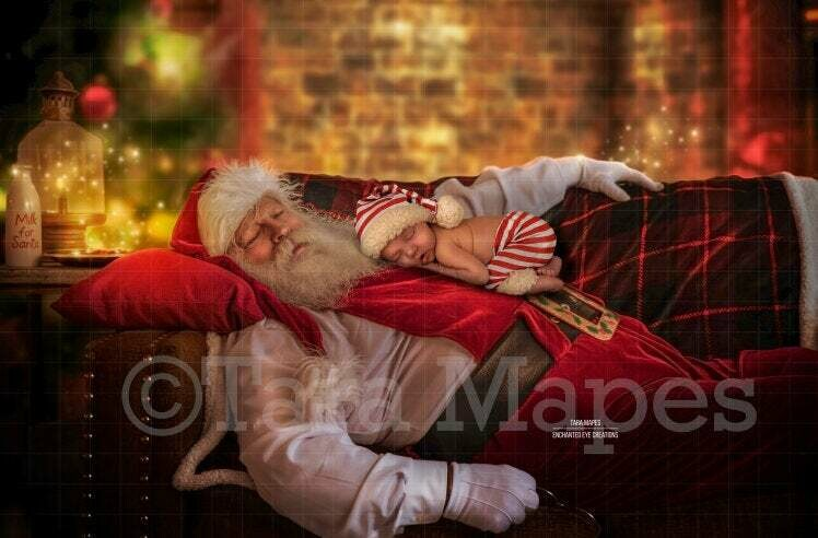 Sleeping Santa - Santa Sleeping on Couch- Newborn - Christmas Holiday Digital Background Backdrop