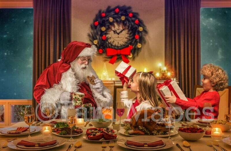 Christmas Dinner with Santa - LAYERED PSD! Christmas Night with Santa - Santa Visits - Santa Holiday Christmas Digital Background / Backdrop